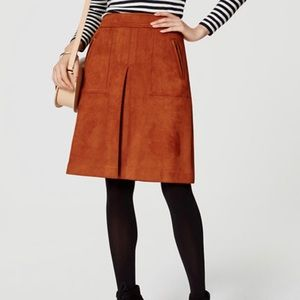 Loft Faux Zip Suede Skirt in burnt orange sz. 14